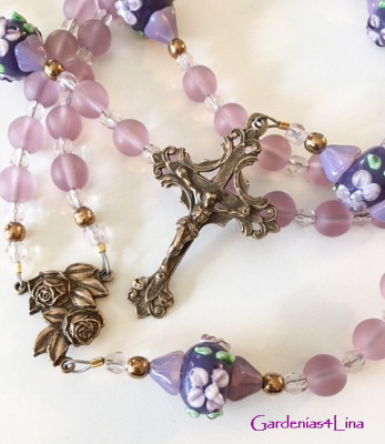 Lavender glass and handmade lampwork rosary dedicated to the prayer, Memorare, honoring theVirgin Mary,