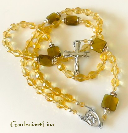 Pale yellow Czech glass and sea glass limited edition rosary representing Saint Rita of Cascia