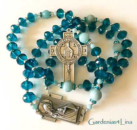 Temple of God: Teal blue crystal rosary focused on prayer by Saint Francis