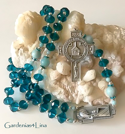 Temple of God Teal Crystal Rosary