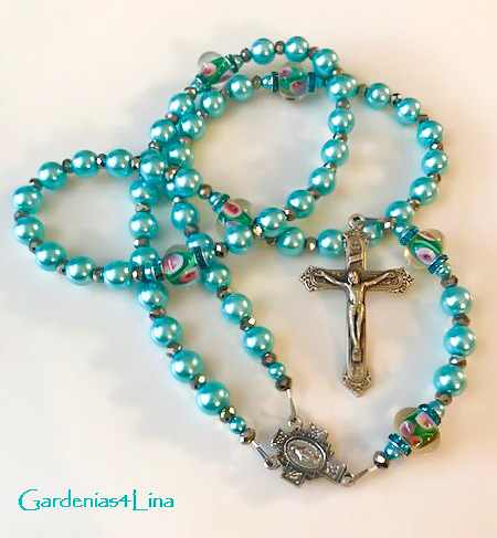 Limited edition turquoise pearl and lampwork  rosary symbolizing Virgin  Mary's title, Seat of Wisdom